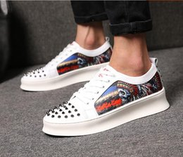 Red Skull Shoes Australia - 2019 new fashion designer casual leather shoes red soles skull pattern flat bottom rivet shoes low to help skateboard shoes with box