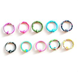 $enCountryForm.capitalKeyWord NZ - 16G Stainless Steel New Color Hoop Nose Eyebrow Lip Tragus Earring Captive Bead Ring Wholesale Body Piercing Jewelry Mix 100pcs