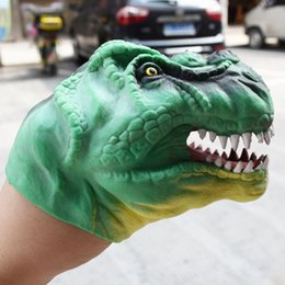 $enCountryForm.capitalKeyWord Australia - 20pcs lot DHL FREE SHIPPINGTPR Soft Green Dinosaur Head Hand Puppet Painting Gloves Toy Model Gift boy