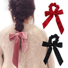 tie ponytail hair extensions NZ - Cute Girl Hair Rope Velvet Scrunchies Bowknot Elastic Hair Bands for Women Bow Ties Ponytail Holder Accessories