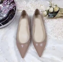 grey ballerina shoes NZ - Sexy Point Toe Pointed Toe Spikes Ballet Shoes Ladies Red Bottom Anjalina Flat Women Luxurious Brand Ballerinas Shoes Party Wedding