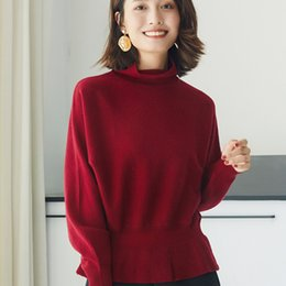 Wholesale women s pure cashmere sweater for sale - Group buy Women Sweater Batwing Sleeve Pure Goat Cashmere Knitted Pullover High Quality New Fashion Turtleneck Colors Sizes Clothes
