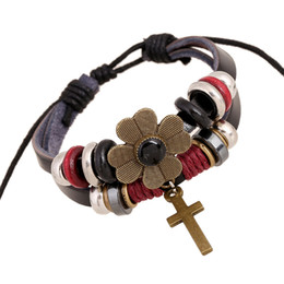 Wholesale Creative Cross Beaded Bracelet leather wristband for men in charm adjustable Jewellery for women christian cuff bracelet