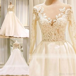 Line Princess Cathedral Bridal Wedding Dress Australia - 2018 Generous Lace Applique A-Line Wedding Dresses Jewel Long Sleeve Cathedral Train Bridal Dresses With Covered Buttons Back Wedding Gowns