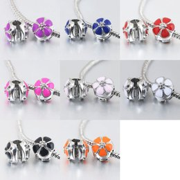 $enCountryForm.capitalKeyWord Australia - 925 silver plated mix color cherry flower clips big hole safety beads charms fit european style bracelet free shipping B11
