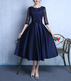 blue prom dresses white bow Australia - Dark Navy Elegant Satin with Lace Tea Length Evening Dresses With Bow Formal Dresses Half Sleeves Evening Gowns Party Prom Gowns Bridesmaid