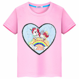 Girl Red Love Shirt NZ - 2019 new summer unicorn love flip cloth stickers sewing Sequin children's clothing cotton T-shirt girls clothes