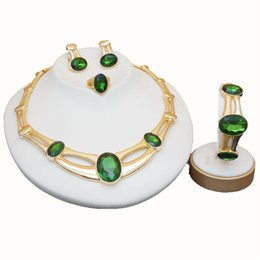 China rose gold green stone jewelry sets Women Bridal Jewelry Sets Luxury necklace set in jewelry sets stud drop earrings jewellery supplier black rose bridal jewelry suppliers