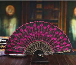 k silk Australia - Happy Marriage Embroidery Fabric Folding Fan Silk Top Grade Bridal Fans Bridesmaid Fans Hollow Bamboo Handle Wedding Accessories Fold Fans