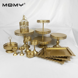 Decorate Cupcakes Australia - Gold and White Wedding Cake Stand set 13 pieces Cupcake Stand Barware Decorating Cooking Cake Tools Bakeware Set Party Dinnerware