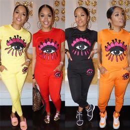 Discount design yoga pants - Women Big Eye Print Tracksuit 2 Piece Set Outfits Long Pants Casual Short Sleeve T-shirt + Leggings Sportswear Design Cl