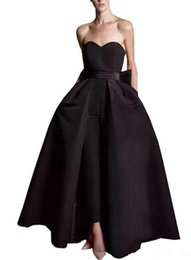 $enCountryForm.capitalKeyWord NZ - Black Women Jumpsuit Evening Dresses 2019 Satin Sweetheart Neck Floor Length Prom Dress Detachable Skirt Pant Suit Formal Party Gowns