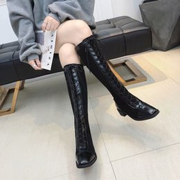 sheepskin wholesale NZ - 2019 new Women's boots fashion solid color low heel strap design women's martin boots casual high tube women's knee boots wholesale 10430