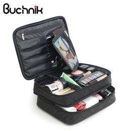 $enCountryForm.capitalKeyWord Australia - Double Layer Black Cosmetics Bag High Capacity Travel Bags Wash Makeup Organizer Pouch Beauticians Case Accessories Supplies Y19052501