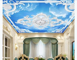custom carvings Australia - Custom Large Ceiling Zenith Mural Photo Wallpaper 3D stereo European white plaster line carved sky zenith ceiling background wall