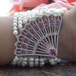 $enCountryForm.capitalKeyWord Australia - Natural 12 strands 4-5 mm white freshwater pearl micro inlay zircon fan flower accessories bracelet long 20 cm fashion jewelry