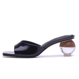 $enCountryForm.capitalKeyWord Australia - Transparent Open-toe Women Mules 5.5 CM Round Heels White Leather Summer Slippers Sexy Woman Party Pumps Box packing S112