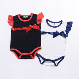 866b2c94dd5 Baby Girls Ribbon Bow Ruffle Sleeves Rompers Summer 2019 Kids Boutique  Clothing Euro America Infant Toddlers Girls Sleeveless Onesie