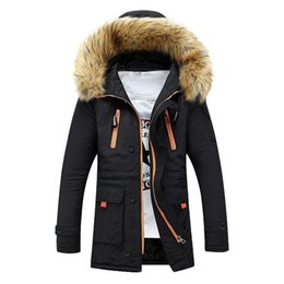 mens green parka NZ - Winter Parka Men Thick Warm Cotton-Padded Coat Mid-Long Fur Collar Hooded Zipper Mens Winter Jackets Snow Quilted Jacket Coat