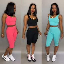 $enCountryForm.capitalKeyWord Australia - Womens Two Piece Set Outfits gallus sleeveless Tracksuit Sexy Casual printed Jogging Sports hot shorts Suits fashion women clothing klw1131
