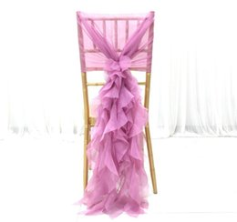cheap white wedding chair covers UK - Chiffon Ruffles Vintage 2019 Wedding Chair Covers Cheap Fashion Chair Sashes Elegant Wedding Decorations Wedding Accessories CS01