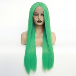 Green Color Lace Wig Australia - 180% Density Natural Hairline Long Straight Green Color Heat Resistant Fiber Synthetic Lace Front Wigs for Black Women Cosplay Party Wig