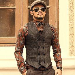 Formal Suits Waistcoat Australia - Brown Double Breasted Groom Vests 2019 Wool Tweed Formal Groom's Wear Suit Vest Men's Wedding Tuxedo Waistcoat Plus Size