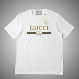 GUCCI Мужская футболка мода Письмо печати футболки куртка Мужчины Женщины высокое качество повседневная рубашки белый розовый серый размер S-2XL на Распродаже