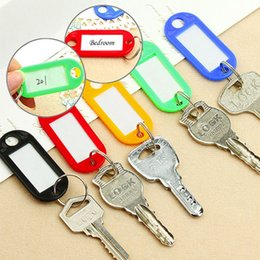 Wholesale Card Ring Australia - 1 Plastic Keychain Key Split Ring ID Tags Name Card Label Language