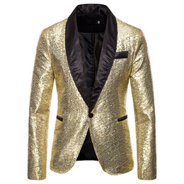 sequin stage clothes Australia - HEFLASHOR Men Shawl Lapel Blazer Designs Gold Shiny Sequin Glitter 2XL Suit Jacket DJ Club Stage Singer Clothes Wedding Costumes
