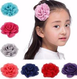 Retail Hair Clips NZ - Retail 8.5cm Newborn Chiffon Petals Flower Clips Rolled Rose Fabric Hair Flowers For Kids Girls Hair Accessories