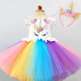 $enCountryForm.capitalKeyWord Australia - Kid Rainbow Dresses Princess Girl Halloween Festival Party Tutu Dress For Baby Girls 2 4 5 Yrs Unicorn Clothes Set Q190522