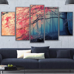 $enCountryForm.capitalKeyWord Australia - Poster HD Prints Modern Wall Art Canvas For Living Room 5 Pieces Cherry Blossoms Pictures Decor Red Trees Forest Painting