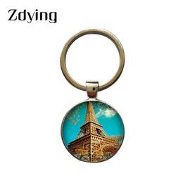 $enCountryForm.capitalKeyWord Australia - ZDYING Vintage Paris Eiffel Tower Keyring Key Ring Chain Holder Round Glass Cabochon Photo Keychain Rhodium Plated Jewelry EF012