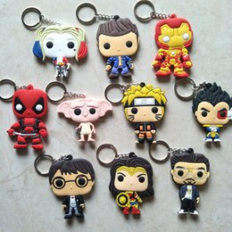 Woman Fans Australia - New Deadpool Harry Dobby PVC Keychain Harley Quinn Wonder Women Tony Stark Keychains Bag Gifts Kids Fans