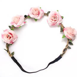 Wholesale M MISM New Fashion Woman Faux Flowers Elactic Hair Bands for Wedding Headband Knitted Girls Beauty Leaves Accessories Headdress