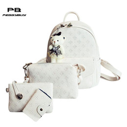 Backpack Solid Australia - 4pcs set Women's Leather Backpack With Solid Bear Women's Bags Set School Bags For Teenage Girls Mochila Feminina Plecak Bagpack Y19061102