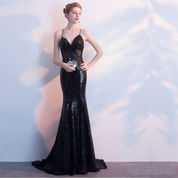 black lace fishtail evening dress Australia - 2019 Black Noble Sexy Sequined Deep V-neck Evening Dresses New Fishtail Long Strap Halter Free Shipping Party Gowns Mermaid Prom Dresses