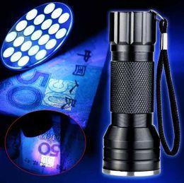 Uv Flashlight Torch Australia - NEW Purple 395lm 21LED UV Ultra Violet Flashlight Torch Light Lamp Mini UV Flash Light for Blacklight Invisible Mini Aluminum Alloy lamp