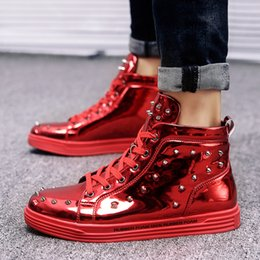 $enCountryForm.capitalKeyWord NZ - Mens Bright PU Leather Sneakers Stylish Rivet Studded High Top Party Shoes Ankle Flat Silver Black Red Metal Spikes Flats Dress Shoes