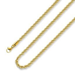 $enCountryForm.capitalKeyWord Australia - 18k Real Gold Plated Rope Chain 3MM Stainless Steel Mens Chain Necklace Women Chains fast free shipping new arrival