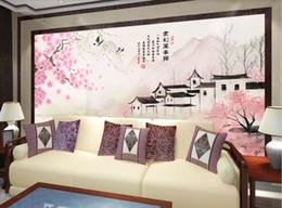Peaches Fiber Australia - 3d room wallpaper custom photo non-woven mural Jiangnan Water Town Peach Blossom Background Wall Painting wall art canvas pictures