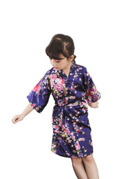 sakura cosplay 2020 - Shanghai Story 6 pieces set(Size 4,Size 6,Size 8,Size 10,Size 12,Size14) Girls' Satin Kimono Sakura Flower Robe for