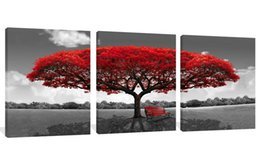 tree painting living room UK - 3 Panels Canvas Wall Art Red Tree Picture Landscape Painting Modern Giclee Artwork Ready to Hang Canvas Art Wall Decorations for Living Room