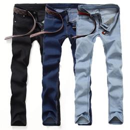 Male jeans korean new online shopping - Autumn hot new mens black jeans men Korean Slim pants feet tide adolescent male casual long pants solid color big yards trousers