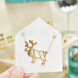 Reindeer Pendants Australia - 10pcs new small elk Antler Christmas deer pendant clavicle Necklace Reindeer Horn Stag Necklaces Cute animal Fawn Necklaces jewelry