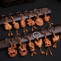 Woman cock toy online shopping - pet toy Keychains unisex wood animal keychain cock monkey dog goat snake pig cow tiger mouse key ring charms for bags ornament jewelry
