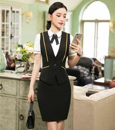 Office Wear Women Clothing NZ - Formal Ladies Black Waistcoat & Vest Women Business Suits with Skirt and Top Sets Work Wear Office Clothes