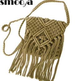 $enCountryForm.capitalKeyWord UK - SMOOZA 2018 Women's Handbag Straw Shoulder Bag For Ladies Fashion White Handmade Cotton Rope Hollow Out Woven Tassel Bag Trend Y190619