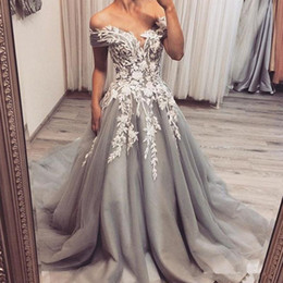 Wholesale silver grey lace wedding dress for sale - Group buy 2020 New Vintage Silver Grey Wedding Dresses Off the Shoulder Lace Appliques Tulle A Line Bridal Gowns Sweep Train Custom Made Wedding Dress